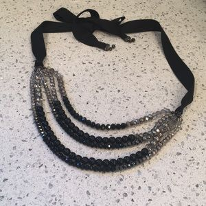 Black and silver beaded ribbon necklace